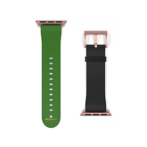 Black Green Duo Apple Band, Solid Color Print Premium Apple Watch Band- Made in USA-Watch Band-38 mm-Rose Gold Matte-Heidi Kimura Art LLC