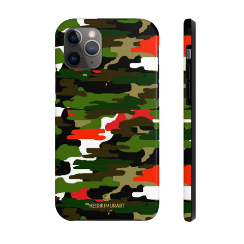 Red Green Camo iPhone Case, Classic Army Camouflage Case Mate Tough Phone Cases-Phone Case-Printify-iPhone 11 Pro-Heidi Kimura Art LLC Red Green Camo iPhone Case, Classic Army Military Camouflage Print Phone Case, Designer Case Mate Tough Phone Cases For iPhones or Samsung Galaxy Devices -Made in USA