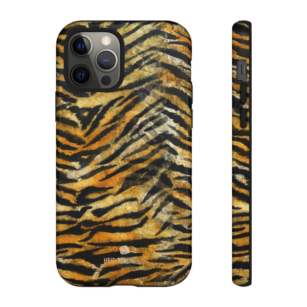 Orange Tiger Striped Phone Case, Animal Print Tough Cases, Designer Phone Case-Made in USA-Phone Case-Printify-iPhone 12 Pro-Glossy-Heidi Kimura Art LLC