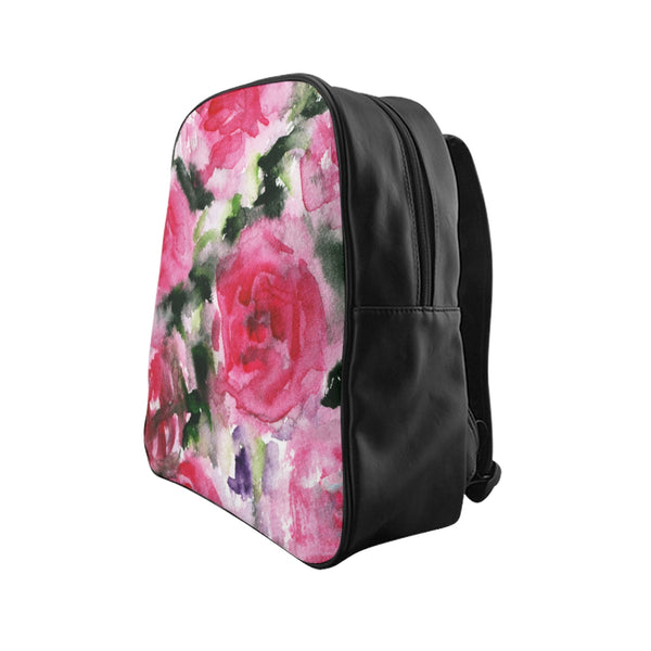 Round Red Pink Abstract Watercolor Rose Floral Print Designer School Backpack Bag-Backpack-Heidi Kimura Art LLC