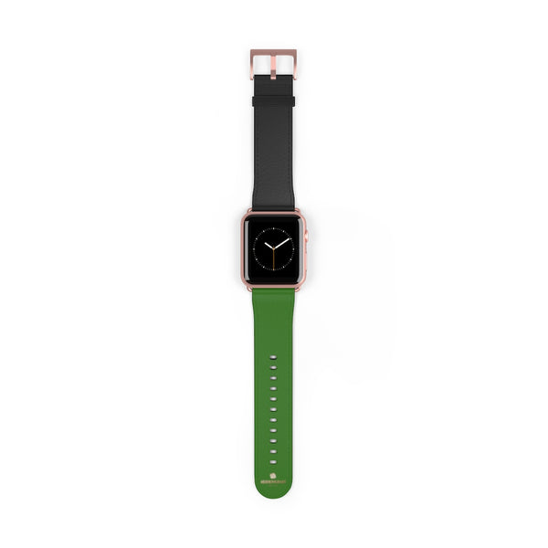 Black Green Duo Apple Band, Solid Color Print Premium Apple Watch Band- Made in USA-Watch Band-42 mm-Rose Gold Matte-Heidi Kimura Art LLC