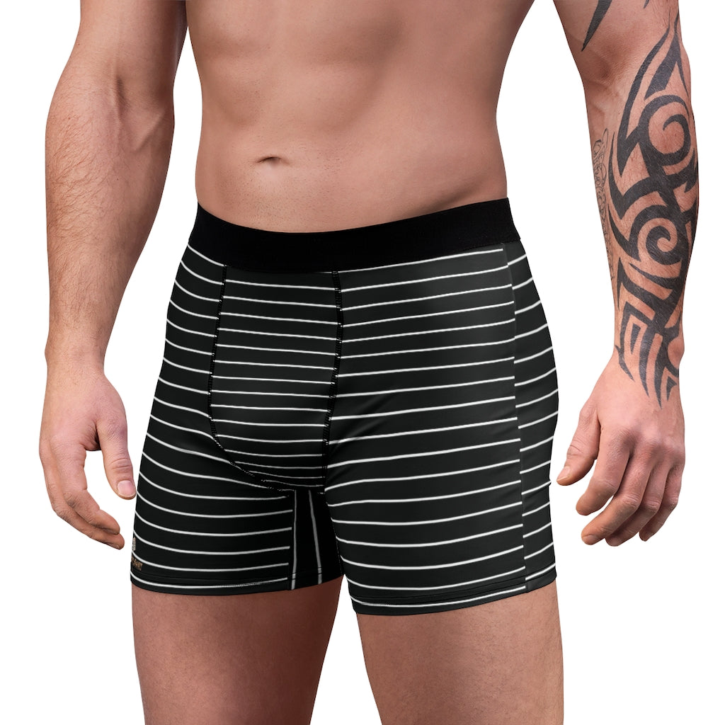 Horizontal Striped Men's Boxer Briefs-All Over Prints-Printify-L-Black Seams-Heidi Kimura Art LLC