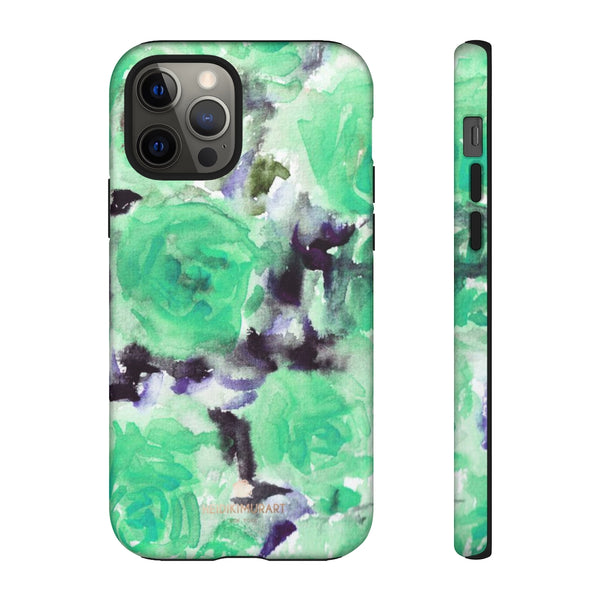 Turquoise Floral Print Tough Cases, Designer Phone Case-Made in USA-Phone Case-Printify-iPhone 12 Pro-Matte-Heidi Kimura Art LLC