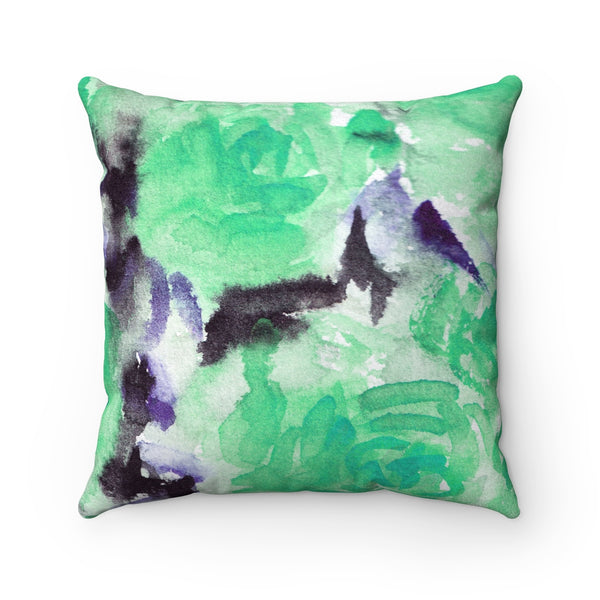 Light Blue Rose Pattern Luxury Faux Suede Square Pillow - Made in USA-Pillow-Heidi Kimura Art LLC