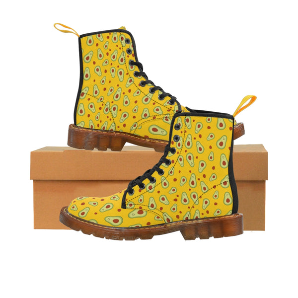 Avocado Women's Canvas Boots, Yellow Winter Laced Up Combat Boots For Vegan Loving Ladies-Women's Boots-Printify-ArtsAdd-Brown-US 8.5-Heidi Kimura Art LLC