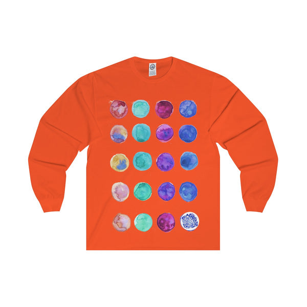 Polka Dots Unisex Designer Premium Long Sleeve Tee - Designed + Made in USA-Long-sleeve-Orange-S-Heidi Kimura Art LLC
