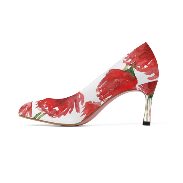 "Robust Red Poppy Flower Bridal Women's Designer 3"" High Heels (US Size: 5-11)-3 inch Heels-Heidi Kimura Art LLC"
