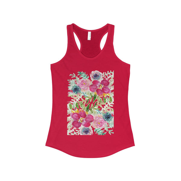 Pink Rose Bouquet Floral Print Women's Ideal Racerback Tank - Made in USA-Tank Top-Solid Red-XS-Heidi Kimura Art LLC