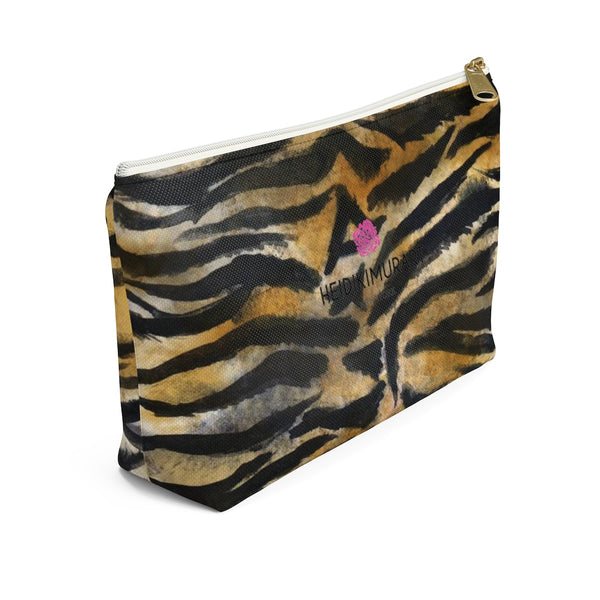Wild Bengal Brown Tiger Stripe Animal Print Designer Small/Large Accessory Pouch-Accessory Pouch-Heidi Kimura Art LLC