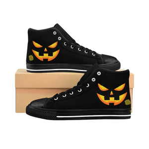 Women's Orange Festive Halloween Pumpkin Face Party High Top Sneakers Shoes (US Size: 6-12)