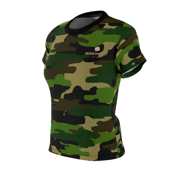 Women's Camouflage Military Army Print Crew Neck Tee - Made in USA (Size XS-2XL)-T-Shirt-Heidi Kimura Art LLC