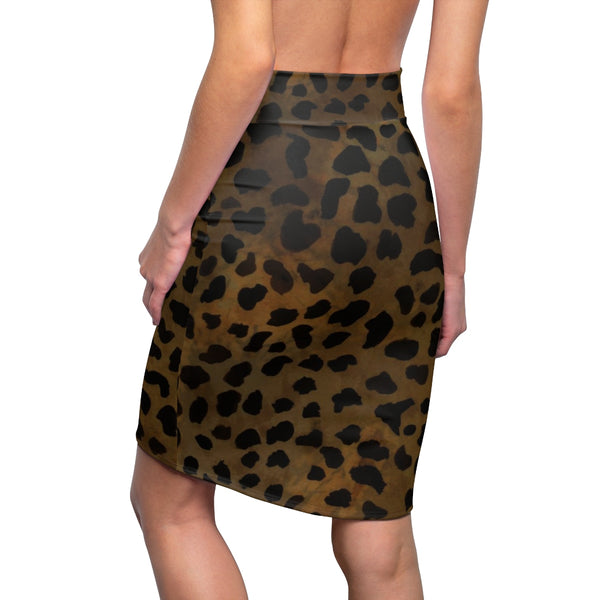 Brown Leopard Cheetah Animal Print Women's Pencil Skirt-Made in USA(Size:XS-2XL)-Pencil Skirt-Heidi Kimura Art LLC Brown Leopard Pencil Skirt, Brown Leopard Cheetah Animal Print Women's Pencil Skirt-Made in USA (US Size:XS-2XL) Plus Size, Cheetah Leopard Print Skirt ,Animal Print Skirt Plus Size Available