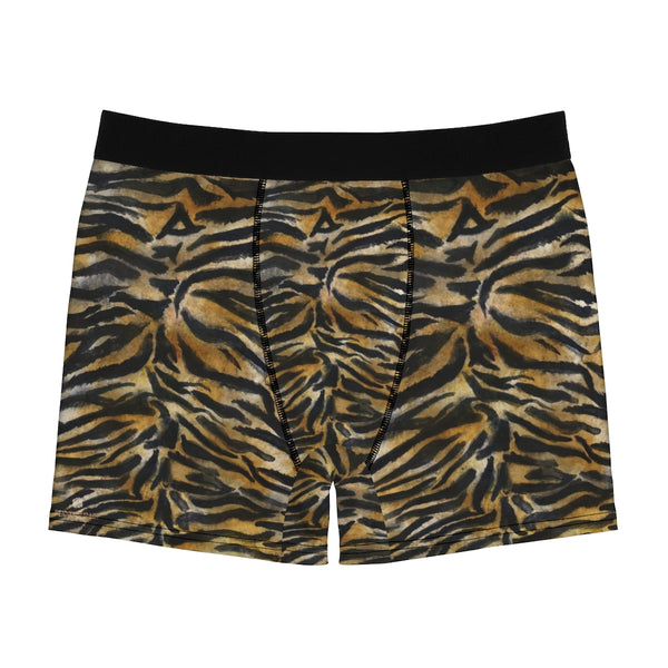 Brown Tiger Men's Boxer Briefs, Striped Animal Print Premium Quality Underwear For Men-All Over Prints-Printify-Heidi Kimura Art LLC Tiger Stripe Men's Underwear, Orange Brown Tiger Stripe Animal Print Sexy Hot Men's Boxer Briefs Hipster Lightweight 2-sided Soft Fleece Lined Fit Underwear - (US Size: XS-3XL)