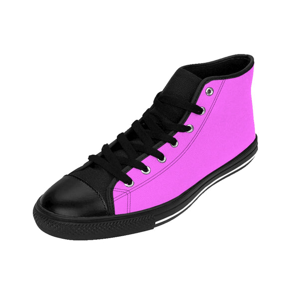 Hot Pink Doll Solid Color Women's High Top Sneakers Running Shoes (US Size: 6-12)-Women's High Top Sneakers-Heidi Kimura Art LLC Hot Pink Women's High Tops, Hot Pink Doll Solid Color Women's High Top Sneakers, Luxurious Minimalist Running Shoes (US Size: 6-12)