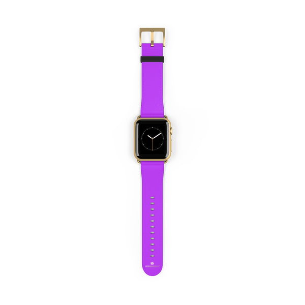 Purple Solid Color Print 38mm/42mm Watch Band For Apple Watches- Made in USA-Watch Band-38 mm-Gold Matte-Heidi Kimura Art LLC