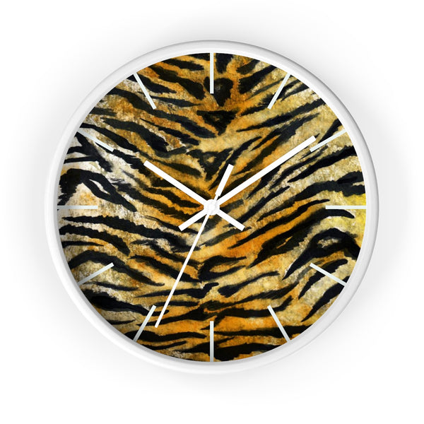 "Stylish Tiger Stripe Faux Fur Pattern Animal Print 10"" Diameter Wall Clock - Made in USA-Wall Clock-White-White-Heidi Kimura Art LLC"