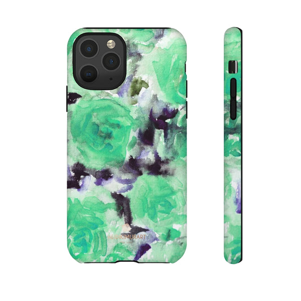 Turquoise Floral Print Tough Cases, Designer Phone Case-Made in USA-Phone Case-Printify-iPhone 11 Pro-Matte-Heidi Kimura Art LLC