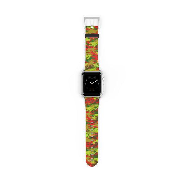 Red Green Red Camo Print 38mm/42mm Watch Band For Apple Watches- Made in USA-Watch Band-38 mm-Silver Matte-Heidi Kimura Art LLC