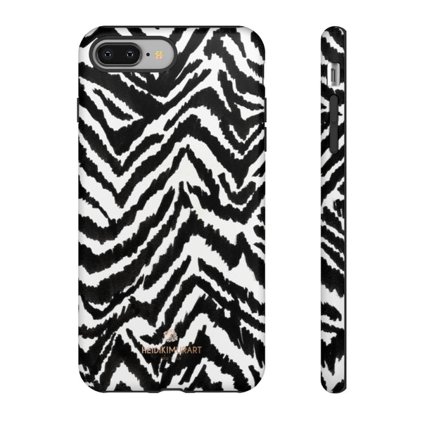 White Tiger Stripe Phone Case, Animal Print Best Tough Designer Phone Case -Made in USA-Phone Case-Printify-iPhone 8 Plus-Matte-Heidi Kimura Art LLC