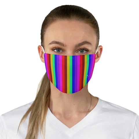 "Rainbow Vertically Striped Face Mask, Best Gay Pride Colorful Fashion Face Mask For Men/ Women, Designer Premium Quality Modern Polyester Fashion 7.25"" x 4.63"" Fabric Non-Medical Reusable Washable Chic One-Size Face Mask With 2 Layers For Adults With Elastic Loops-Made in USA"