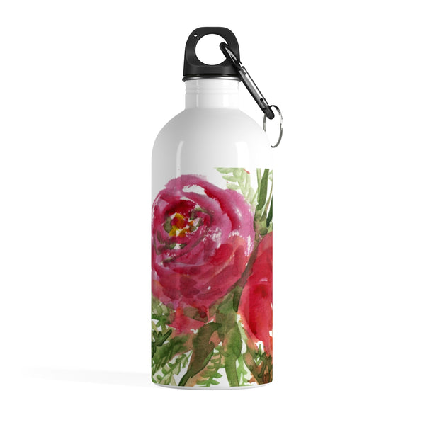 Red Orange Roses Spring Floral Print Stainless Steel 14 oz. Water Bottle - Made in USA - Heidi Kimura Art LLC