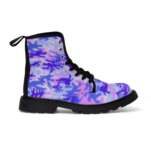 Pink Purple Camo Men's Boots, Best Hiking Winter Boots Laced Up Shoes For Men