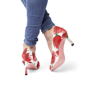 "Robust Red Poppy Flower Bridal Women's Designer 3"" High Heels (US Size: 5-11)-3 inch Heels-US 10-Heidi Kimura Art LLC"