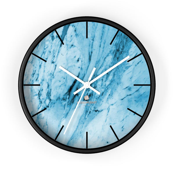 "Blue White Marble Print Art Large Indoor 10"" inch dia. Designer Wall Clock-Made in USA-Wall Clock-10 in-Black-White-Heidi Kimura Art LLC"