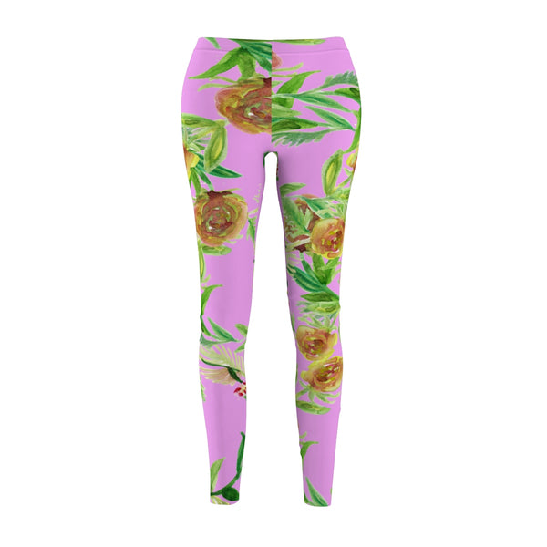 Pink Floral Print Women's Tights / Casual Leggings - Made in USA (US Size: XS-2XL)-Casual Leggings-M-Heidi Kimura Art LLC