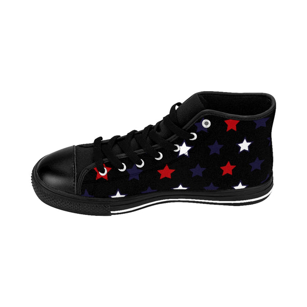 Independence Day July 4th Men's Black High-Top Sneakers (US Size: 6-14)-Men's High Top Sneakers-Heidi Kimura Art LLC