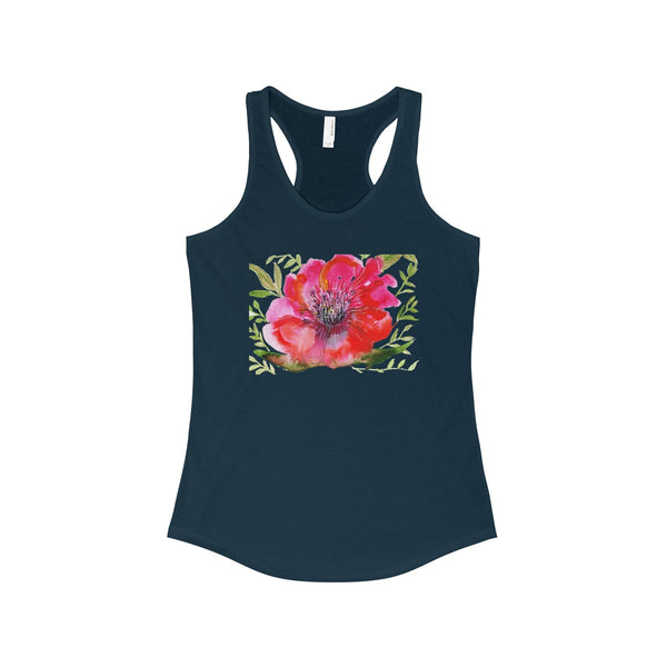 Red Designer Best Floral Women's Ideal Racerback Tank - Made in the USA-Tank Top-Solid Midnight Navy-XS-Heidi Kimura Art LLC