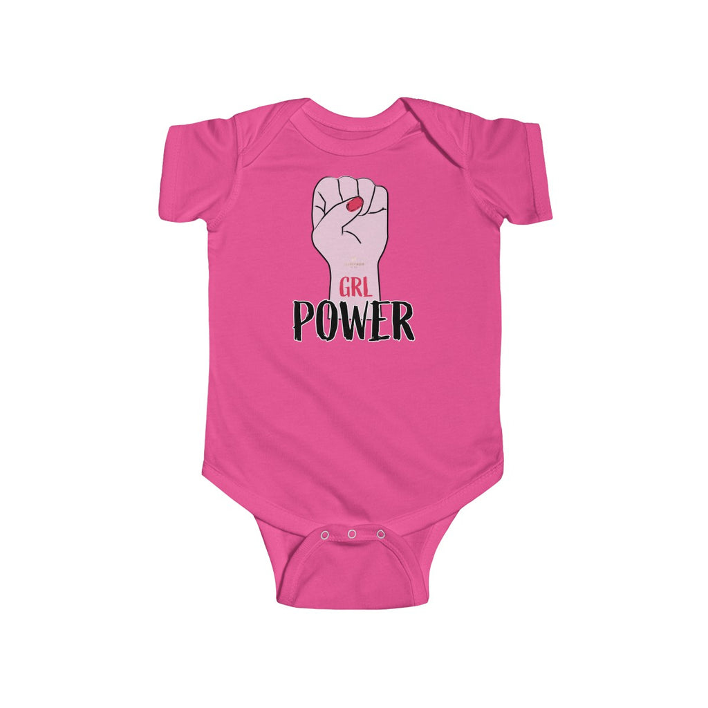Girl Power Infant Fine Jersey Regular Fit Unisex Cute Bodysuit - Made in UK - Heidi Kimura Art LLC