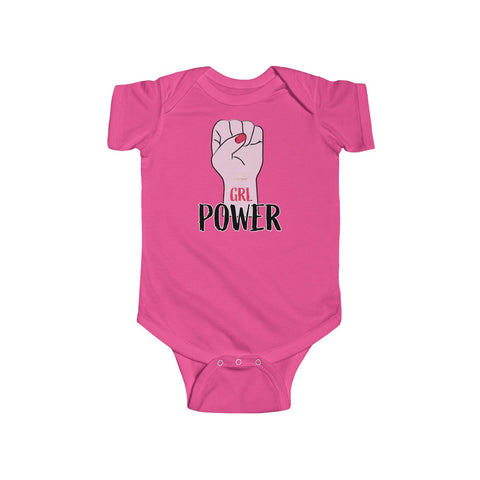 Girl Power Infant Fine Jersey Regular Fit Unisex Cute Bodysuit - Made in UK-Infant Short Sleeve Bodysuit-Hot Pink-12M-Heidi Kimura Art LLC