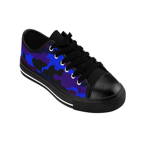Purple Blue Camouflage Military Print Premium Men's Low Top Canvas Sneakers Shoes-Men's Low Top Sneakers-Heidi Kimura Art LLC