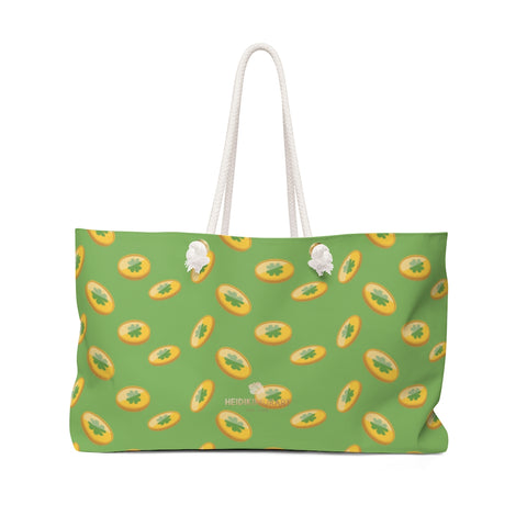 "Light Green Gold Coins St. Patrick's Day Irish Print 24""x13""Weekender Bag- Made in USA-Weekender Bag-24x13-Heidi Kimura Art LLC"
