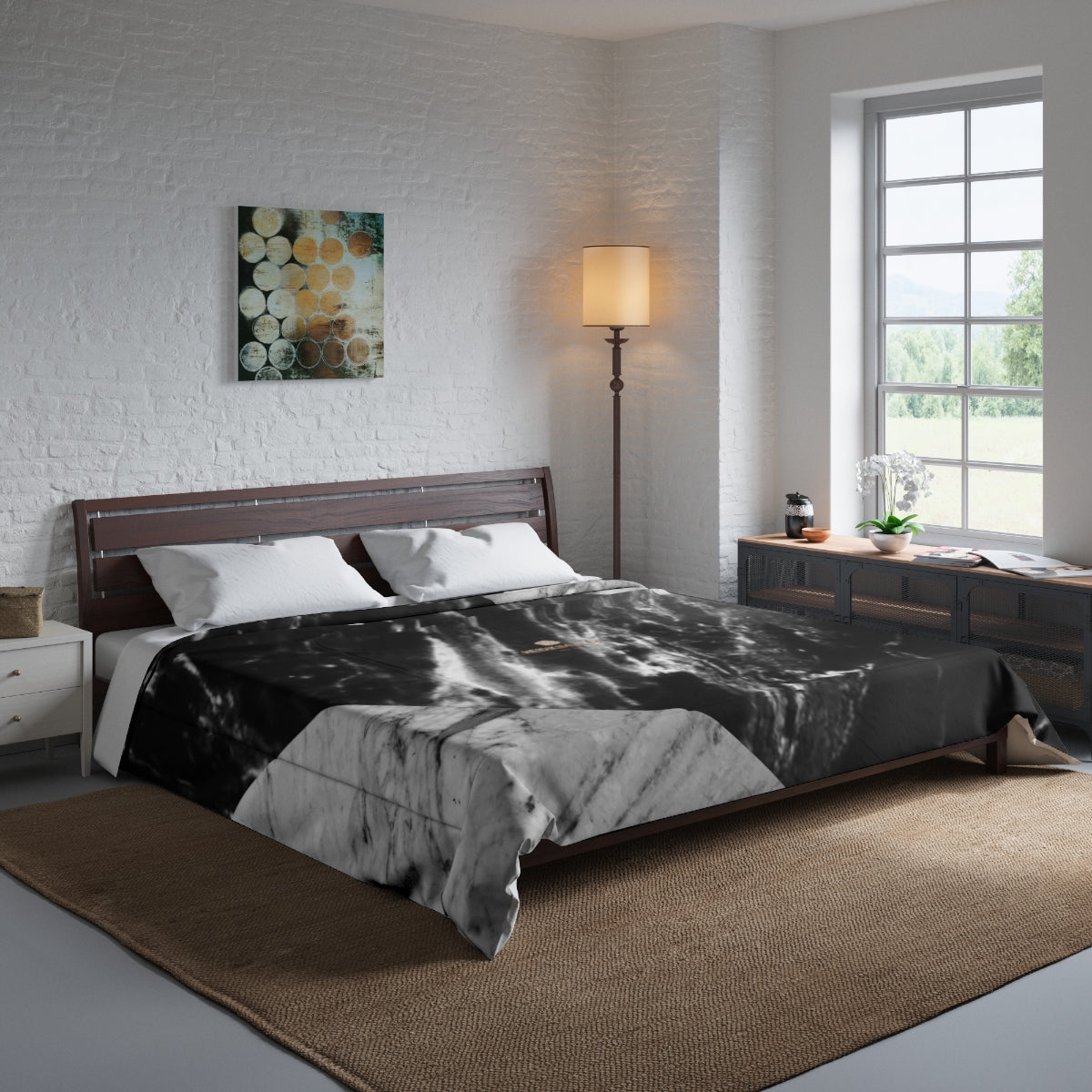 Gray Black White Marble Print Comforter For King/Queen/Full/Twin Bed - Made in USA-Comforter-104x88 (King Size)-Heidi Kimura Art LLC