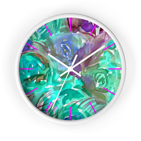 "Turquoise Blue Rose Floral Print Flower Rose 10 inch Diameter Wall Clock - Made in USA-Wall Clock-White-White-Heidi Kimura Art LLC Turquoise Blue Floral Clock, Turquoise Blue Pink Floral Flower Print Abstract Rose 10"" Diameter Wall Clock, Made in USA, Unique Large Wood Wall Clock,Rose Art Clock Decor"
