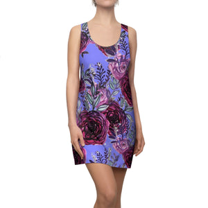 Pastel Purple Rose Floral Print Women's Racerback Dress-Made in USA (US Size: XS-2XL)-Women's Sleeveless Dress-L-Heidi Kimura Art LLC
