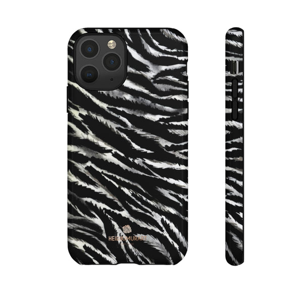 White Tiger Stripe Phone Case, Animal Print Tough Designer Phone Case -Made in USA-Phone Case-Printify-iPhone 11 Pro-Glossy-Heidi Kimura Art LLC