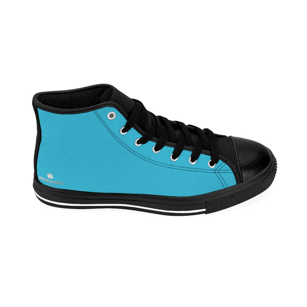Blue Men's Sneakers, Sky Blue Colorful Solid Color Print Designer Men's Shoes, Men's High Top Sneakers US Size 6-14, Mens High Top Casual Shoes, Unique Fashion Tennis Shoes, Solid Color Sneakers, Mens Modern Footwear (US Size: 6-14)