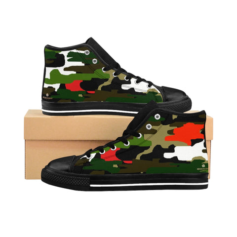 "Red Green Cam Women's Sneakers, Army Print Designer High-top Sneakers Tennis Shoes-Shoes-Printify-Black-US 9-Heidi Kimura Art LLCRed Green Camo Women's Sneakers, Army Military Camouflage Print 5"" Calf Height Women's High-Top Sneakers Running Canvas Shoes (US Size: 6-12)"
