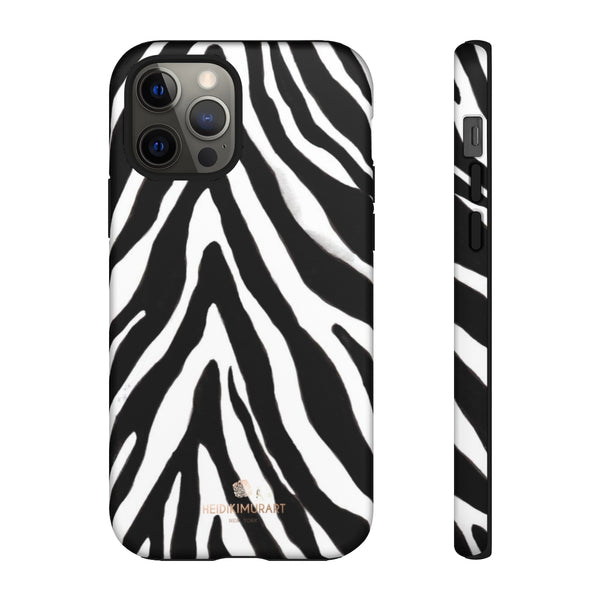 Zebra Stripe Phone Case, Animal Print Tough Designer Phone Case -Made in USA-Phone Case-Printify-iPhone 12 Pro-Matte-Heidi Kimura Art LLC