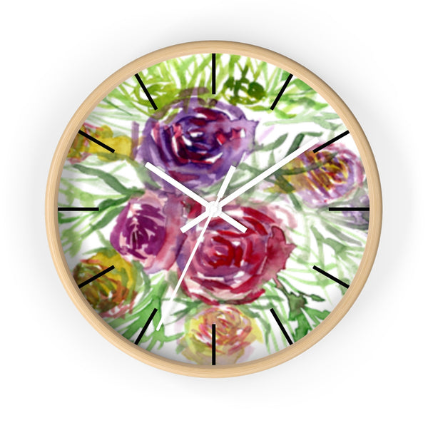 Pink Purple Floral Rose 10 inch Diameter Shabby Chic Girlie Wall Clock - Made in USA-Wall Clock-Wooden-White-Heidi Kimura Art LLC