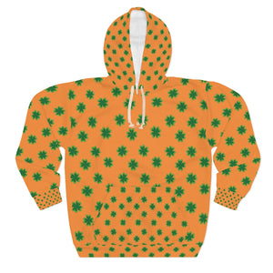 Orange Green Clover St. Patrick's Day Unisex Pullover Hoodie For Men/Women- Made in USA-Unisex Hoodie-2XL-Heidi Kimura Art LLC