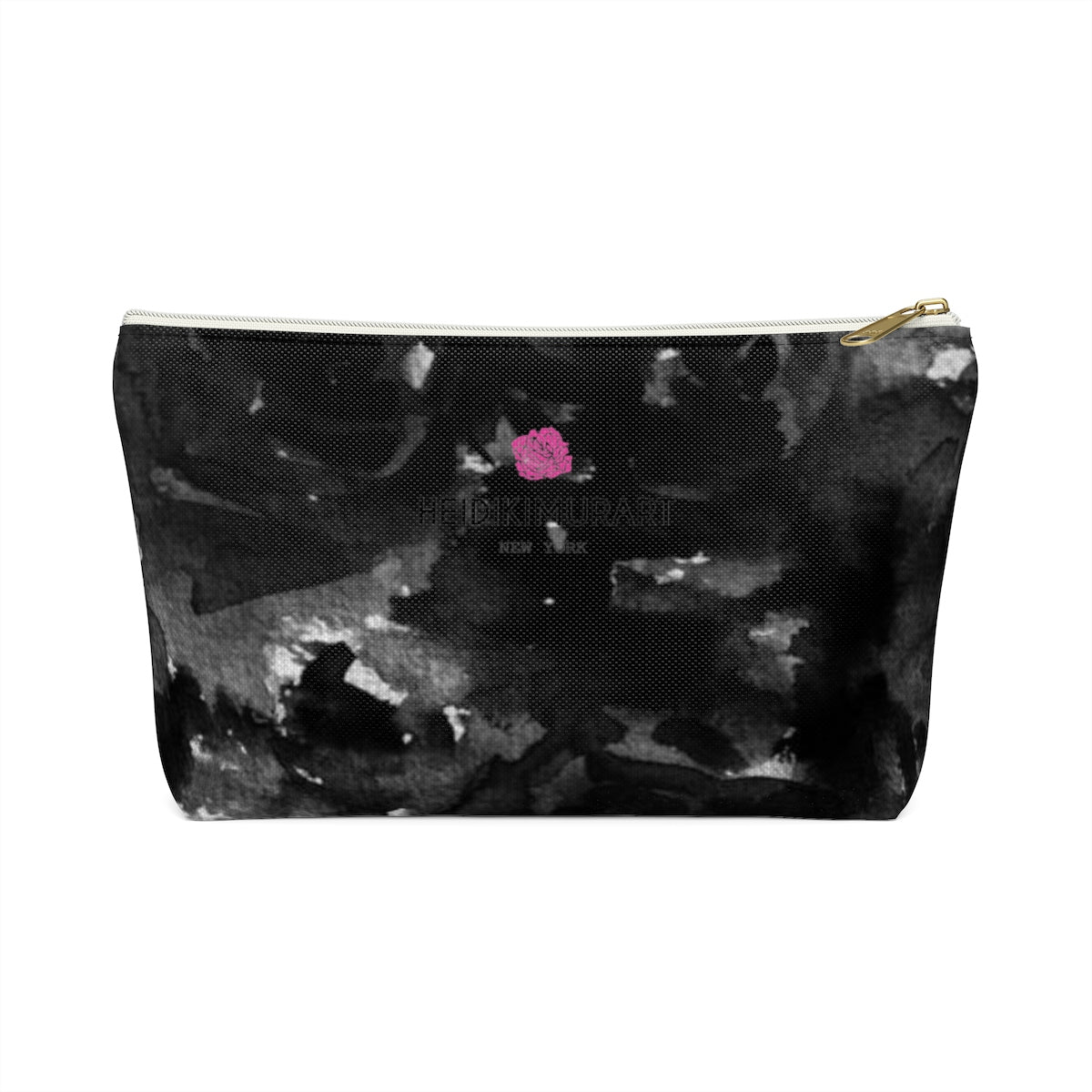 Black Rose Floral Print Designer Accessory Pouch with T-bottom Makeup Bag-Accessory Pouch-White-Small-Heidi Kimura Art LLCBlack Rose Makeup Bag, Black Rose Floral Print Designer Accessory Pouch with T-bottom Makeup Bag - Made in USA