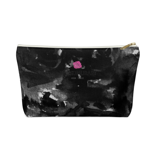 Maiko Black Zombie Rose Floral Print Designer Accessory Pouch with T-bottom - Heidi Kimura Art LLC