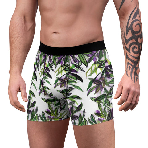 Tropical Men's Boxer Briefs, Hawaiian Style Leaf Print Premium Quality Underwear For Men-All Over Prints-Printify-Heidi Kimura Art LLC Tropical Men's Boxer Briefs, Hawaiian Style Leaf Print Premium Quality Sexy Modern Hot Men's Boxer Briefs Hipster Lightweight 2-sided Soft Fleece Lined Fit Underwear - (US Size: XS-3XL)