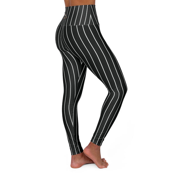 Vertically Black Striped Tights, High Waisted Yoga Leggings, Black White Stripes Women's Tights - Made in USA-All Over Prints-Printify-Heidi Kimura Art LLC