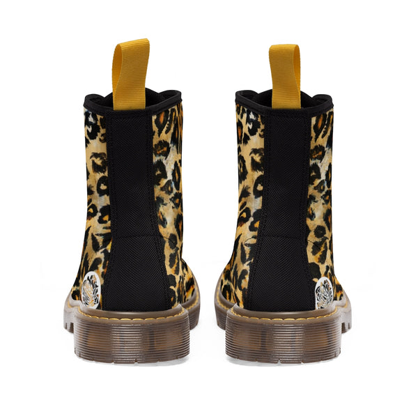 Cool Leopard Skin Pattern Animal Print Women's Winter Lace-up Toe Cap Boots Shoes-Women's Boots-Heidi Kimura Art LLC