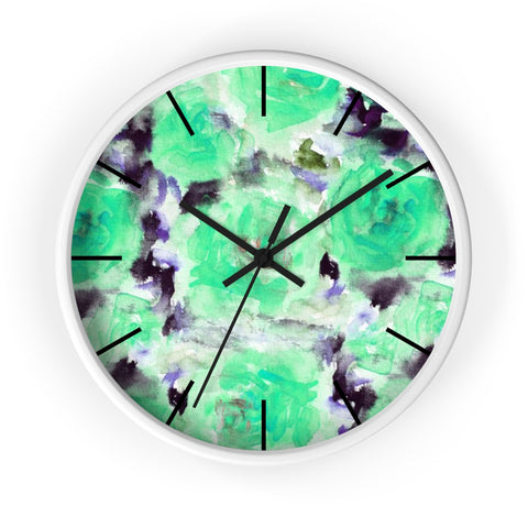 "Turquoise Blue Floral Print Abstract Rose 10"" Diameter Wall Clock - Made in USA-Wall Clock-White-Black-Heidi Kimura Art LLC"